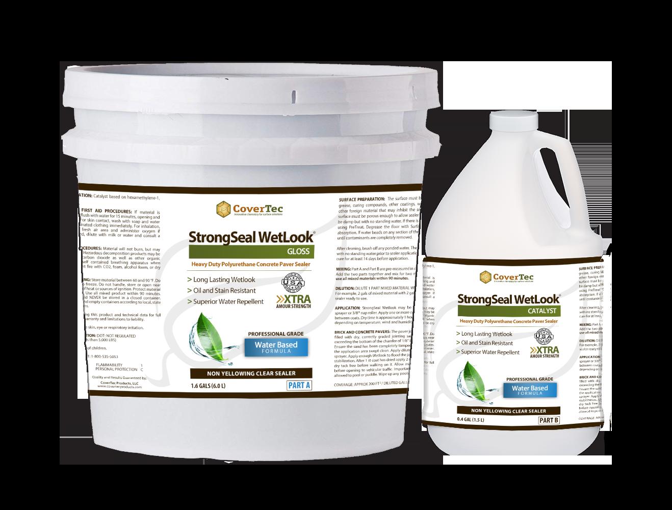 Strongseal Wetlook A Water Based Paver Sealer Wet Look Covertec